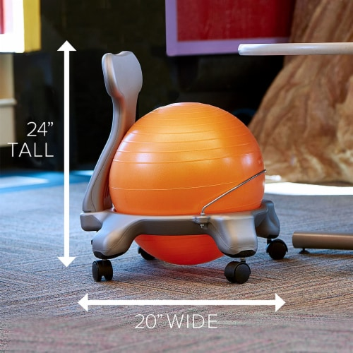 Gaiam Active Kid Classic Stability Balance Ball Chair with Reliable 4 Wheel Base Perspective: back