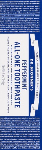 Dr. Bronner's Peppermint All-One Toothpaste Perspective: back