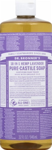 Dr. Bronner's 18-in-1 Hemp Lavender Pure-Castile Liquid Soap Perspective: back