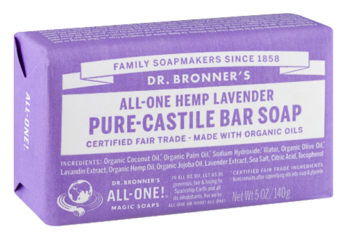 Dr. Bronner's All-One Hemp Lavender Pure-Castile Bar Soap Perspective: back