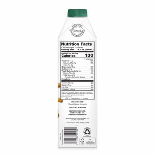 Elmhurst Milked Unsweetened Almond Beverage Perspective: back