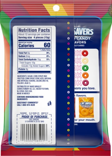 Life Savers® 5 Flavors Hard Candy Bag Perspective: back