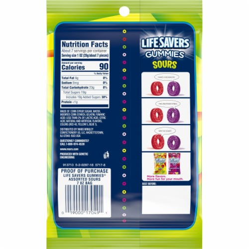 Life Savers Sours Gummies Candy Bag Perspective: back