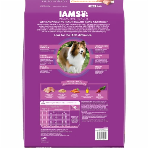 IAMS Proactive Health Chicken & Whole Grains Mature Adult Dry Dog Food Perspective: back