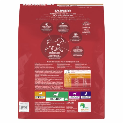 IAMS PROACTIVE HEALTH Adult Lamb Meal and Rice Dry Dog Food Perspective: back