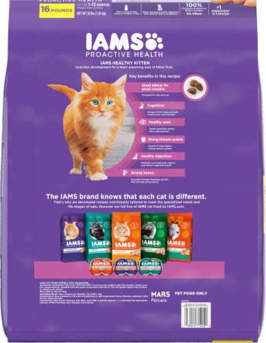 IAMS Proactive Health with Chicken Healthy Kitten Dry Cat Food Perspective: back
