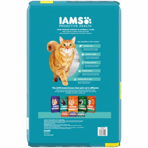 IAMS ProActive Health Indoor Weight & Hairball Care with Chicken & Turkey Adult Dry Cat Food Perspective: back