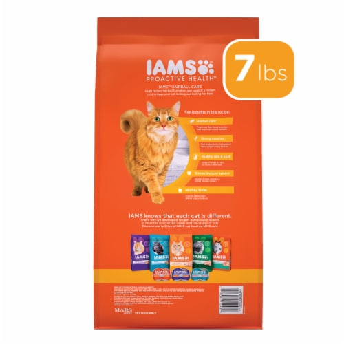 IAMS ProActive Health Hairball Care with Chicken & Salmon Adult Dry Cat Food Perspective: back