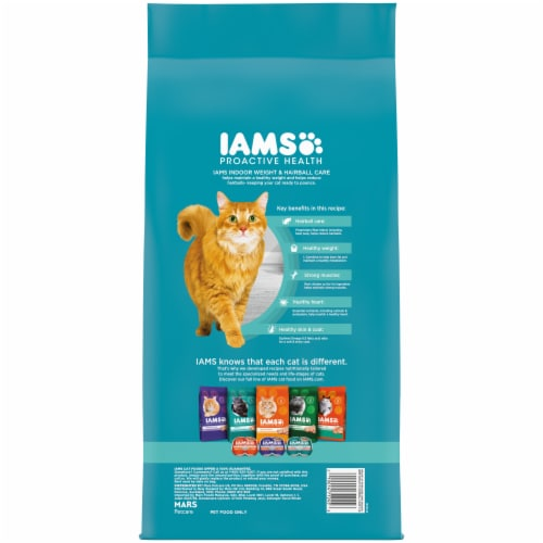 IAMS ProActive Health Indoor Weight & Hairball Care Chicken & Turkey Adult Cat Food Perspective: back