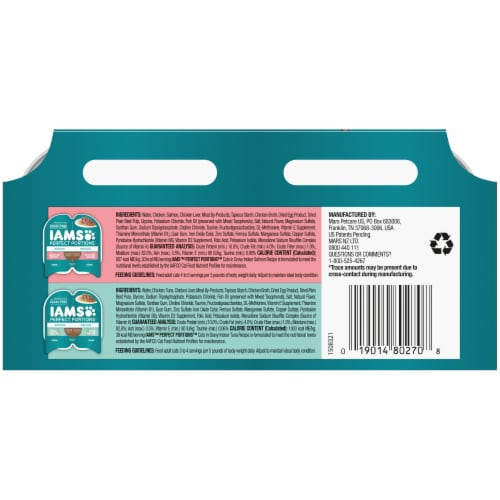IAMS Perfect Portions Salmon Recipe & Tuna Recipe Indoor Wet Cat Food Variety Pack Perspective: back