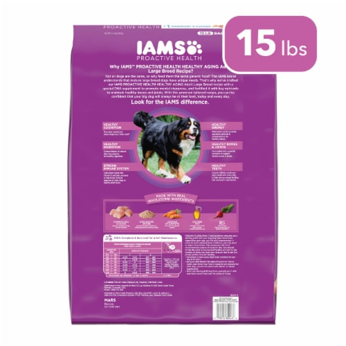 IAMS Proactive Health Mature Adult Large Breed Chicken Recipe Dry Dog Food Perspective: back