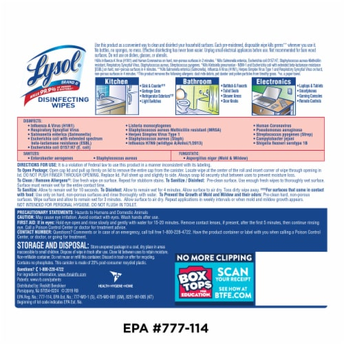 Lysol Lemon & Lime Blossom Disinfecting Wipes Perspective: back