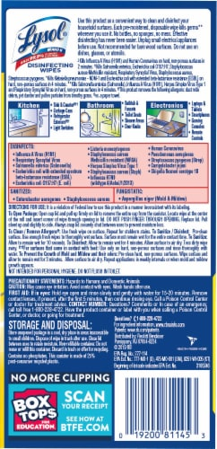 Lysol Lemon & Lime Blossom Scented Disinfecting Wipes Perspective: back