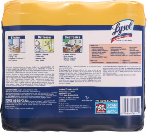 Lysol® Lemon & Lime Blossom Scent Disinfecting Wipes Perspective: back