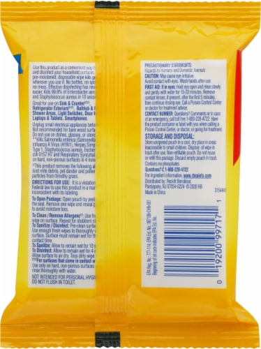 Lysol® To Go Travel Size Lemon & Lime Blossom Disinfecting Wipes Perspective: back