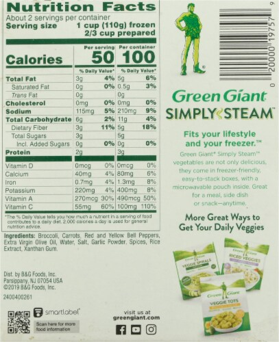 Green Giant Simply Steam Lighty Sauced Antioxidant Blend Vegetables Perspective: back
