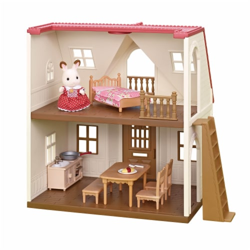 Calico Critters Red Roof Cozy Cottage Doll Set Perspective: back