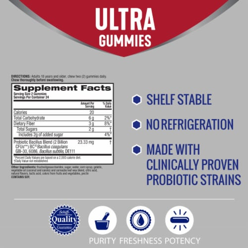 Digestive Advantage Multi-Strain Probiotic Ultra Digestive and Immune Health Gummies Perspective: back