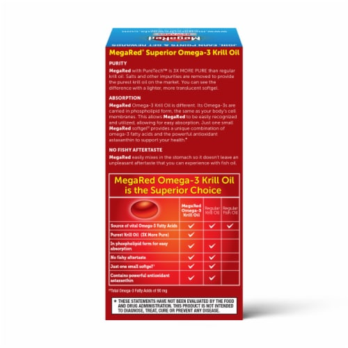 Schiff MegaRed Superior Omega-3 Krill Oil Softgels 350mg Perspective: back