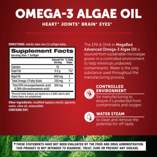Schiff MegaRed Omega-3 Algae Oil Dietary Supplement Softgels Perspective: back