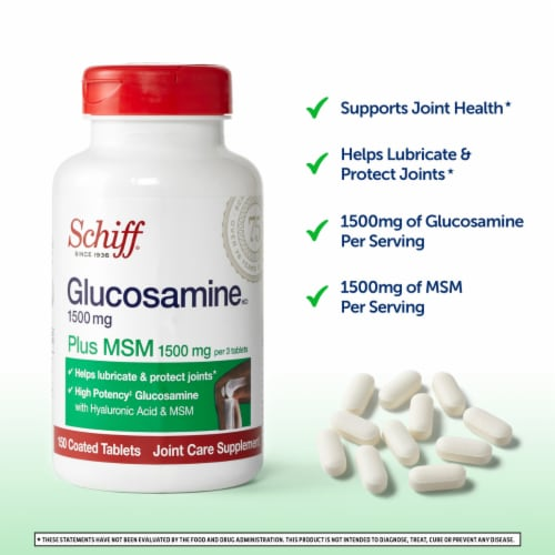 Schiff Glucosamine Plus MSM Joint Care Coated Tablets Perspective: back