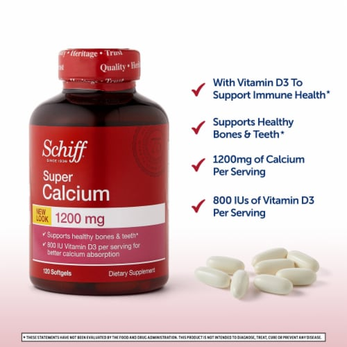 Schiff Super Calcium Softgels 1200mg Perspective: back