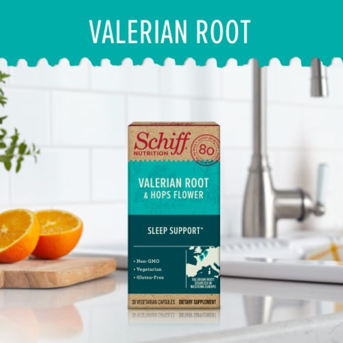 Schiff Valerian Root & Hops Flower Sleep Support Supplement Capsules Perspective: back