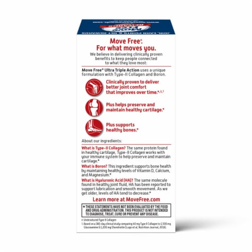 Move Free Ultra Triple Action Joint Cartilage & Bone Supplement Coated Tablets 30 Count Perspective: back