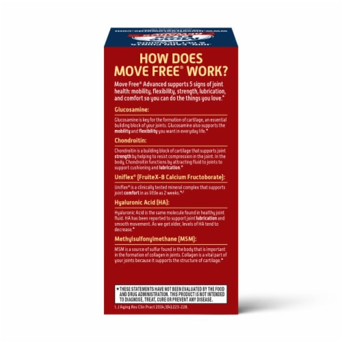 Move Free Advanced Plus MSM Joint Supplement with Extra Cartilage Support Tablets Perspective: back