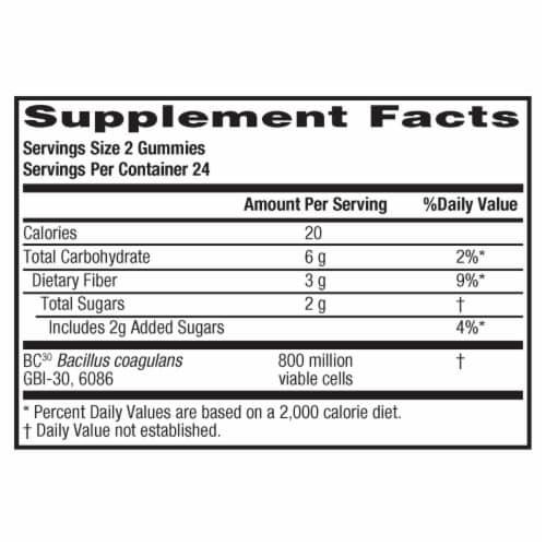 Digestive Advantage Prebiotic Fiber + Probiotic Digestive Health Gummies Perspective: back