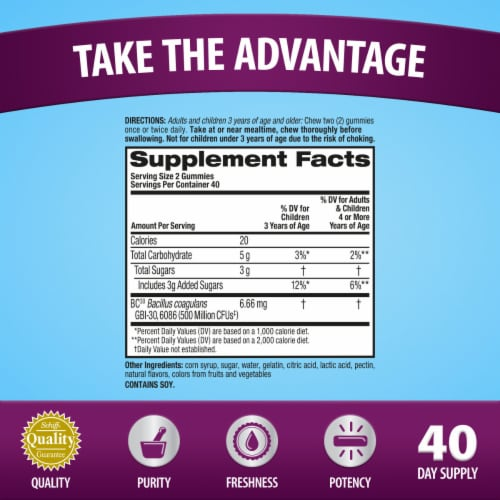 Digestive Advantage Daily Probiotic Natrual Fruit Flavor Digestive Health Gummies 80 Count Perspective: back