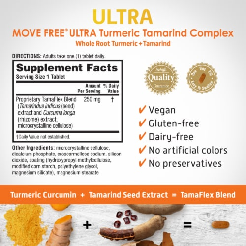 Move Free Ultra Turmeric + Tamarind Coated Dietary Supplement Tablets Perspective: back