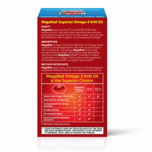 Schiff® MegaRed® Superior Omega-3 Krill Oil Softgels 350mg Perspective: back