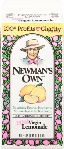 Newman's Own Pink Virgin Lemonade Juice Drink Perspective: back