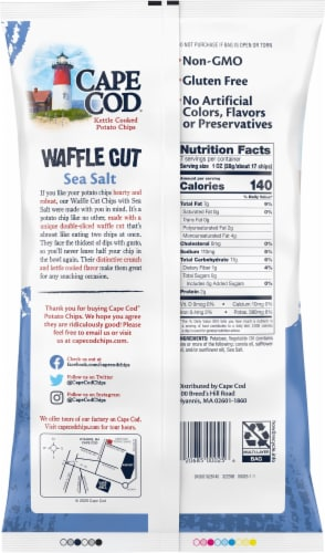 Cape Cod Sea Salt Waffle Cut Kettle Cooked Potato Chips Perspective: back