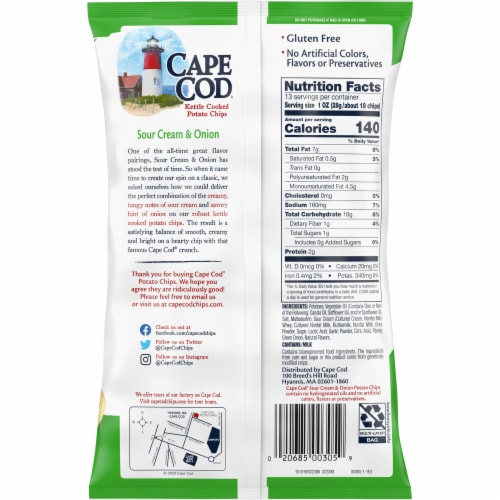 Cape Cod® Party Size Sour Cream & Onion Kettle Cooked Potato Chips Perspective: back