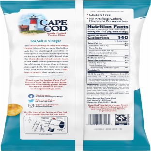 Cape Cod® Gluten Free Sea Salt & Vinegar Kettle Cooked Potato Chips Perspective: back