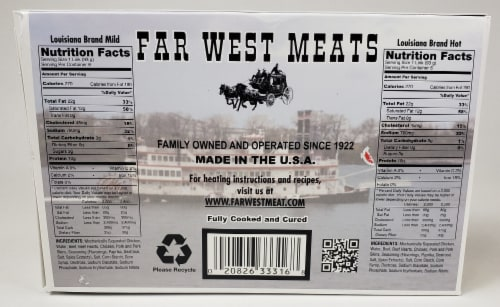 Far West Meats Louisiana Brand Smoked Sausage Perspective: back