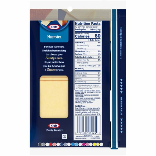 Kraft Muenster Natural Cheese Slices Perspective: back