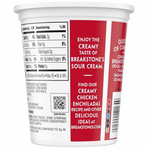 Breakstone's Reduced Fat Sour Cream Perspective: back