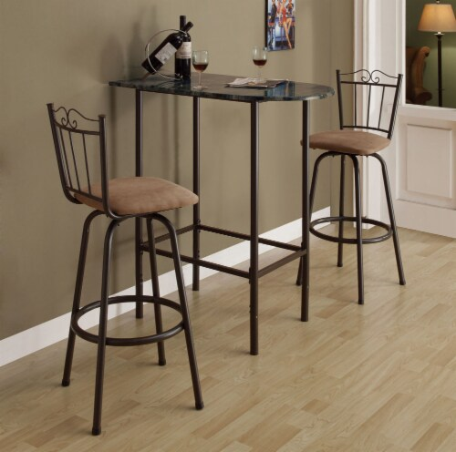 Monarch Faux Marble Top Metal Pub Table in Cappuccino Perspective: back