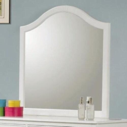 Saltoro Sherpi Fine Lined Transitional Mirror, White Perspective: back