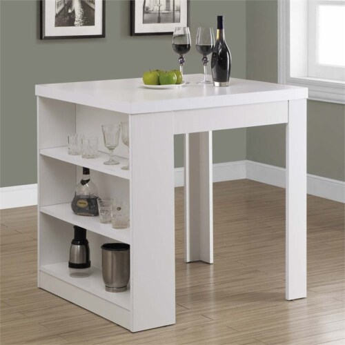 White Hollow-Core 32 X 36  Counter Height Table Perspective: back