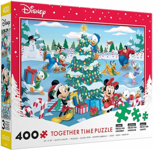 Ceaco Disney Together Time Christmas at The Skating Pond Jigsaw Puzzle, 400 Pieces Perspective: back