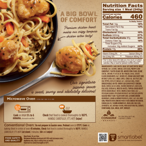 Marie Callender's Sweet and Savory Sesame Chicken Bowl Frozen Meal Perspective: back