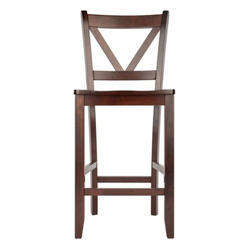 Winsome Victor 24 Inch Tall Solid Wood Counter Bar Stool Set, 2 Piece, Brown Perspective: back