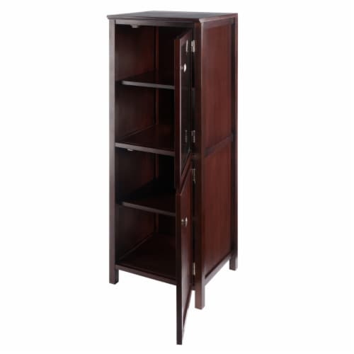 Winsome Brooke 2 Section Wooden Jelly Cupboard Cabinet in Walnut Perspective: back