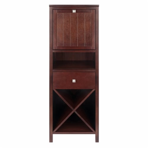 Brooke Jelly Cupboard, 4-Section Cabinet, Walnut Perspective: back