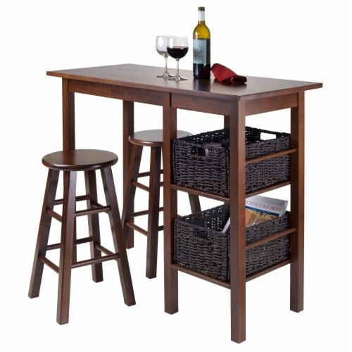 Winsome Egan 3 Piece Breakfast Dining Set and 2 Baskets Perspective: back