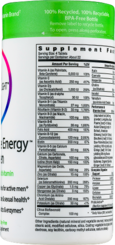 Rainbow Light Performance Energy for Men Tablets Perspective: back